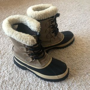 Sorel Women's Tan Caribou Wool Lined Snow Boots